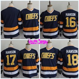 Wholesale Red Slap - Youth Hanson Brothers Charlestown CHIEFS #16 Jack Hanson #17 Steve #18 Jeff #Blank Hanson Slap Shot Throwback Movie Hockey Jerseys