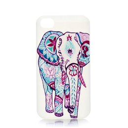 Wholesale White Elephant Charms - Wholesale Fashion Colorful Elephants Charm Design Hard Plastic Phone Case Cover For IPhone 4 4S 5 5S 5C 6