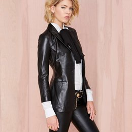 Wholesale Boyfriend Blazer Women - Wholesale-Boyfriend wind self-cultivation split ends PU leather Blazer Europe leather suit leather