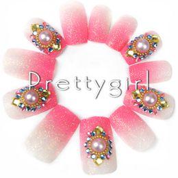 Wholesale French Nail Acrylic Kit - Wholesale-2802# Pink Nail Tips French Nail Art Tips Charm Full Nail Tip 3D Fake Nail Tip Acrylic Kit For Salon Manicure Diamond Decoration