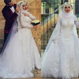свадебные свадебные платья кружевные мусульманские Скидка 2019 Vintage полный кружевной оболочке плюс размер мусульманские свадебные платья Свадебные платья с высоким вырезом с длинным рукавом длиной до пола с съемным шлейфом