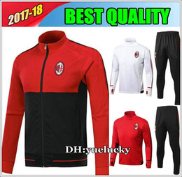 Wholesale Kaka Milan - Best Quality 17 18 AC Milan survetement jacket Training suit kits soccer Jersey Top quality tracksuits KAKA BACCA L.ADRIANO football shirts