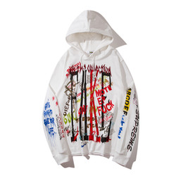 Wholesale Aw Fashion - Fashion Personality Graffiti Hoodie AW Hip-hop Hoodies Skateboard Hoodie Men Long Sleeve Cotton Blend Brand Hoodies 1833