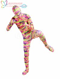 Wholesale Party Full Body Suit - Wholesale-High Quality Halloween Carnival Party Colorful Camouflage Lycra Spandex Full Body Zentai Suit