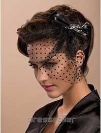 Wholesale Fascinators Veils - Attractive Vintage Bow Black Tulle Net Birdcage Veil Headpiece Head Veil Wedding Bridal Accessories Wedding Bride Hat S-102