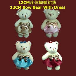 Wholesale 12 Month Christmas Dress - Wholesale 24pcs lot 12cm Cartoon Plush Teddy Bear Twin Bear With Bow Dress For Keychain Phone Bag Stuffed Doll Toy Mixed Color
