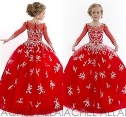 Wholesale Girl Gir - Red Illusion Sheer Long Sleeves Flower Gir Dress Beaded Appliqued Little Girls Pageant Dresses For Wedding Party Rachel Allan 2015 Custom