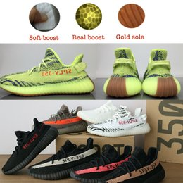 Wholesale Soft Green Light - Newest Best Semi Frozen Yellow SPLY 350 V2 boost Sneakers Brown bottom Soft Real boost for Women Men 700 Boost Running Shoes