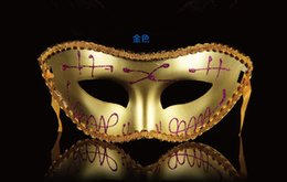 Wholesale Cheap Gold Masquerade Masks - Cheap promotion selling party mask welding gold fashion masquerade Men and Women Half Face Mask Free shipping