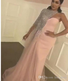 Wholesale Matte Dresses - 2017 Prom Dresses Matte Pink Sheath Split Evening Gowns with Blingbling Silver Sequined Beaded Asymmetrical One Shoulder Cape and Train