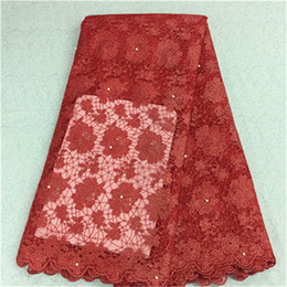 Wholesale French Net Fabric - New fashion red flower design african lace fabric with beads french net lace cloth for party dress BN12-9,5yards pc