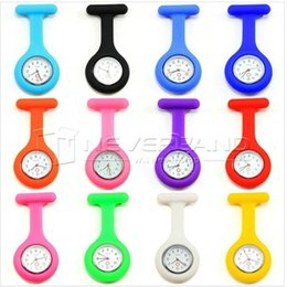 Wholesale Acrylic Watch Cover - 2016 Fashion Christmas Gifts Promotion Colorful Nurse Brooch Fob Tunic Pocket Watch Silicone Cover Nurse Watches DHL