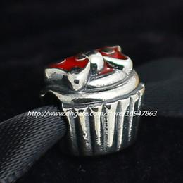 Wholesale Pandora Cupcake - New 100% S925 Sterling Silver Minnie Cupcake Charm Bead with Red Enamel Fits European Pandora Jewelry Bracelets