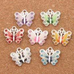 Wholesale Crystal Butterfly Charms - Silver Plated Enamel Rhinestone Crystal Butterfly 56pcs lot 7Colors 22X20.5 mm Charms Pendant Jewelry DIY Jewelry Findings Components L1559
