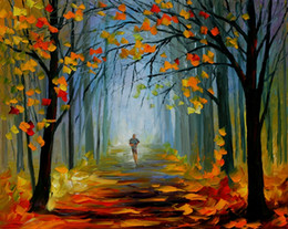 Wholesale Oil Paintings Ship Lake - Unframed Free Shipping Canvas Prints Russian Federation Color oil painting tree forest Running exercise Bridge river street lamp lake rain