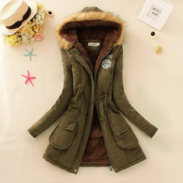 Wholesale Military Patch Design - 2015 new Winter Womens Parka Casual Outwear Military Hooded Coat Winter Jacket Women Fur Coats Woman Clothes manteau femme