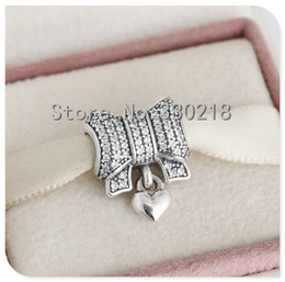 Wholesale Bow Charm Pandora - pandora Bow silver charms 925 sterling silver loose beads for thread bracelet fashon jewelry authentic quality
