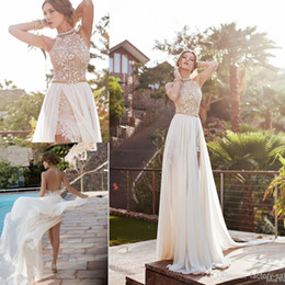 Wholesale Halter Court Train Wedding Dress - Cheap 2016 In Stock Summer Vintage Beach Empire Wedding Dresses A Line Chiffon Lace Side Split Halter Backless Bohemian Bridal Gowns