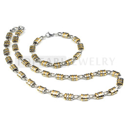 Wholesale 9mm Stainless Steel Necklace - Free Shipping! Mens Stainless Steel Link Chain Necklace with Bracelet Set 9mm Gold Silver SSJ83