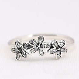 оптовые кольца стерлингового серебра Скидка 3 маленький цветок очарование кольцо с CZ аутентичные стерлингового серебра 925 женская мода ювелирные изделия ретро европейский стиль Честный материал