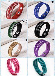 tennis flowers Canada - Women girls luxury 6 layers shining crystal leather bracelets slake bracelet wristbands genuine leather wrap bracelets leather 50pcs lot