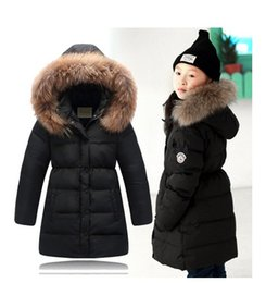 Wholesale Baby Girl Red Fur Coat - Fashion Girl winter jacket down Jackets Coats warm Kids Real fur baby thick duck Down jacket Children Outerwears winter-30degree
