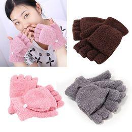Wholesale Women Winter Half Glove - Wholesale-Winter Fall Unisex Wrist Fingerless Glove Women Half Finger Flip Mitten Gloves