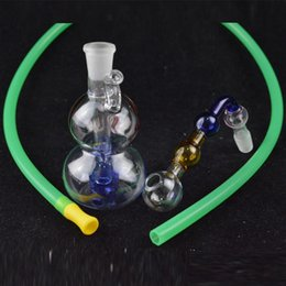 "Wholesale Wholesale Calabash Gourd - Calabash Oil Rigs Water Bongs Mini 3.5"" inch Downstem Recycler Glass Water Bong Portable Gourd Hookah Pipes with 10mm Pot Roast and Hose"