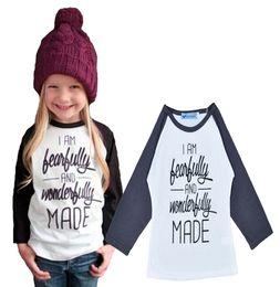 Wholesale Baby Girls Tshirts - 5pcs Beautifully Letter Printing Children's T-shirts Long Sleeve Kids T Shirts Baby Clothing 2016 Spring Autumn Girls Boys Tshirts Tops