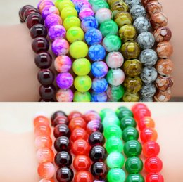 Wholesale Wholesale Glass 8mm Pearls - 8mm Glass Bead Bracelet Women Mens Bracelet crystal beaded bracelets Multicolor Garnet pearl bracelet Carnelian jewelry Best Gift