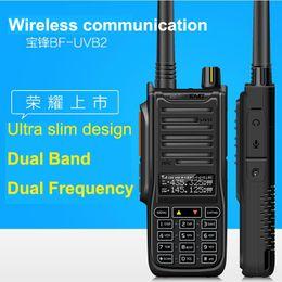 Wholesale Portable Transceivers Vhf Uhf - Wholesale-New Baofeng UV B2 Walkie Talkie 10W High Power Portable Two Way Radio VHF UHF Pofung UV Dual Band BF-UVB2 PTT Transceiver