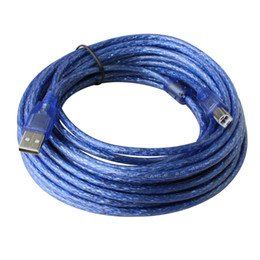 Wholesale Usb Cable Printers - 10M 32.8ft USB A Male AM to B Male BM Data Long Cable Cord Shielding Design for Printer Blue
