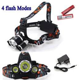 Wholesale Head Lamp Camping - 5000LM 3X CREE XML T6 LED Headlamp Headlight 4 Mode Head Lamp +AC Charger +2*4200mAh 18650 battery for Outdoor Sport Camping light