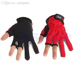 Wholesale Skidproof Clothes - Wholesale-E74 Free Shipping 1 Pair Anti-slip 3 Low Fingers Cut Fishing Gloves Fish Clothing Gear Skidproof