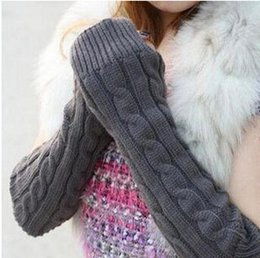 Wholesale Elbow Length Winter Gloves - Wholesale-Women's Glove Solid Color Twist Knitted Lady's Elbow -Length Long Gloves for Female Woman Clothes Accessory Winter Gloves