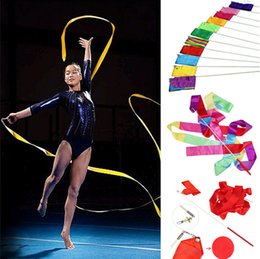 Wholesale Wholesale Gym Ribbon - 4M Dance Ribbon Gym Rhythmic Art Gymnastic Ballet Streamer Twirling Rod Art Gymnastic Ribbon 12 Color [FG08189*12]