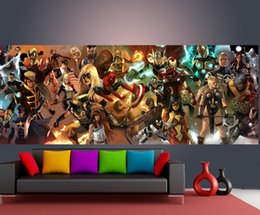 Wholesale Marvel Comics Photos - The Avengers Wallpaper Custom Wall Mural Marvel Comics Photo Wallpaper Superhero Home decor Wall Art Kid room Bedroom Sofa background wall