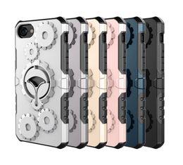 Wholesale Wholesale Plastic Bracket - Newest for Samsung S8 Iphone 6 7 8 Cellphone Case Mounter Dual Layer Gear wheel bracket combo phone case Armor Phone Case