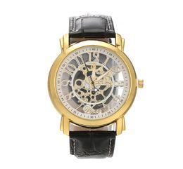 Wholesale Imitation Wristwatches - Fashion Faux Mechanical Watch Men's Decoration Watch Black Band STEAMPUNK Swiss Skeleton Man Leather Watches Imitation machinery Wristwatch