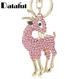 Wholesale Goat Chains - Lovely Sheep Goat Key Chains Holder Crystal Purse Bag Buckle HandBag Pendant For Car Keychains Keyrings K259