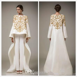 Wholesale Gold Sequin Trousers - 2015 Long Sleeve Dubai Arabic Dresses Elegant Middle East Evening Dresses White Prom Gown Without Trousers