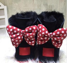 Wholesale Babies Heels - CLASSIC DESIGN SHORT Adult And BABY BOY GIRL WOMEN KIDS BOW-TIE SNOW BOOTS FUR INTEGRATED KEEP WARM BOOTS EUR SZIE 25-43