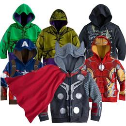 Wholesale Iron Man Baby - Europe children Cartoon hooded iron Man Hulk Spider-Man Captain America boy jackets coat spring autumn kids baby fashion cosplay outwear