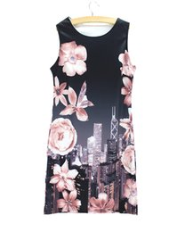 Wholesale Western Style Ladies Dresses - Vogue Bauhinia print women mini summer dress 2016 new fashion design Western style ladies casual dresses wholesale low price mixed order