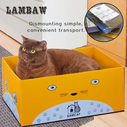 Wholesale Craft Paper Pads - scratching cardboard lambaw yellow printing paper foldable box with corrugated craft cardboard scratcher pad with free catnip free shipping