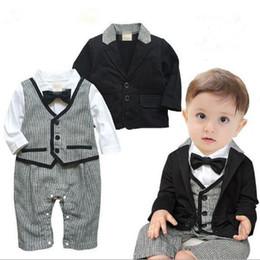 Wholesale Gentleman Style Boy Clothes - Baby Boy Clothing Jumpsuits + Coat Gentleman Suit outfit kids causal leisure sets children cotton baby sets CQZ053