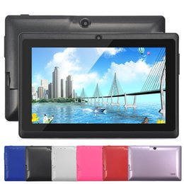 Wholesale Quad Core Computers - Best 7 inch Tablet PC Android Computers A33 Quad Core 1024*600 Touch Screen Dual Camera Wifi 512MB 8GB 6 Colors Q88 Tablets