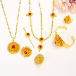 Wholesale Gold Ring Earing Set - Ethiopian Gold Hair Pice Pendant Earing Ring Hairchain Bracelet Eritrea African party Habesha rhinestone bridal jewelry sets