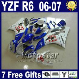 100% de plástico ABS para kits de caretas YAMAHA R6 2006 2007 blanco azul yzf r6 06 07 bodykit HCSD desde fabricantes