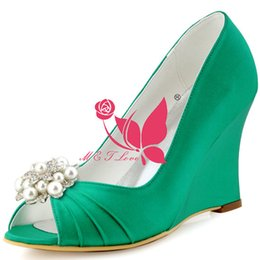 Wholesale Cheap Yellow Wedge Heels - Brand New Cheap Shoes Green Satin Wedges Bridal Beaded Shoes Peep Toe Wedding & Party Shoes WS0109 Customise Size 33 to 43